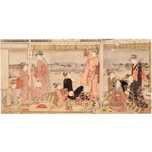 Torii Kiyonaga: Enjoying the Evening Cool from the Upper Story at Ryögoku - Honolulu Museum of Art