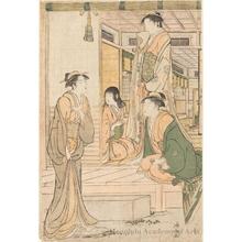 鳥居清長: Ushiwaka serenading Jöruri-Himë - ホノルル美術館
