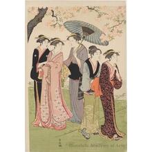 鳥居清長: The Third Month- Flower Viewing at Gotenyama - ホノルル美術館
