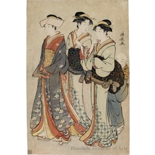 Torii Kiyonaga: A Young Lady, Her Two Maids, and A Kozö - Honolulu Museum of Art