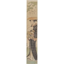 鳥居清長: Woman with a Hat Walking Under a Tree - ホノルル美術館