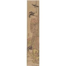 鳥居清長: A Yüjo watching Her Shinzö Write a Letter - ホノルル美術館