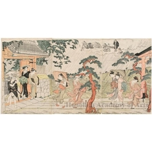 Torii Kiyonaga: A Sudden Squall at Mimeguri Shrine - Honolulu Museum of Art