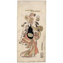 鳥居清信: Fujimura Handayü II as Kusunoki's Wife, Kikusui - ホノルル美術館
