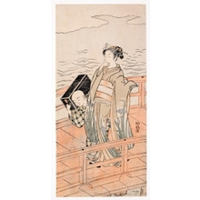 Isoda Koryusai: Geisha on Bridge - Honolulu Museum of Art