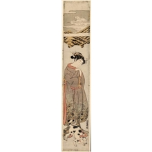 Isoda Koryusai: Girl Walking With A Dog - Honolulu Museum of Art
