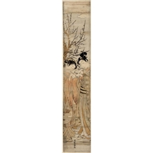 Isoda Koryusai: Couple Smoking Pipes Under Plum Tree - Honolulu Museum of Art