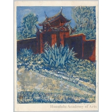 Onchi Koshiro: Side Gate of Confucian temple in Formosa - Honolulu Museum of Art