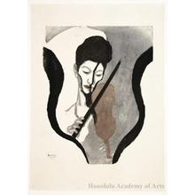 Onchi Koshiro: Impression of a Violinist (Portrait of Suwa Nejiko) - Honolulu Museum of Art