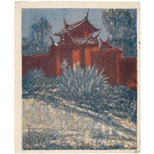 Onchi Koshiro: Side Gate of a Confucian temple in Formosa - Honolulu Museum of Art