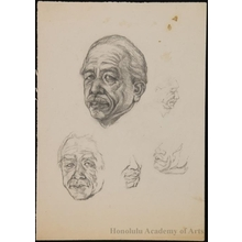 恩地孝四郎: Pencil Studies of Mr. Fujikake Shizuya - ホノルル美術館
