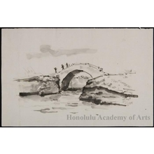 Onchi Koshiro: Brush Sketch of Bridge - Honolulu Museum of Art