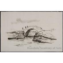 恩地孝四郎: Brush Sketch of Bridge - ホノルル美術館