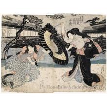 歌川国貞: Bandö Mitsugorö IV as Iwafuji and Nakamura Shikan II as Ohatsu - ホノルル美術館