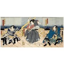 Utagawa Kunisada II: Nidaime Sawamura Tosshö no Kii Söjürö, Yodaime Ichimura Kakitsu no Tachibana no Tsurukichi, Yodaime Ichikawa Kodanji no Udeno Kisaburö - Honolulu Museum of Art