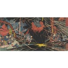 Utagawa Kuniyoshi: Taira no Kiyomori Encountering the Ghost of Yoshihira at Nunobiki Falls - Honolulu Museum of Art