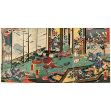Utagawa Kuniyoshi: Night Attack at Yamaki Mansion by Yoritomo's Warriors - Honolulu Museum of Art