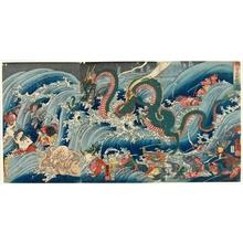 歌川国芳: A Scene from Chasing a Pearl - ホノルル美術館