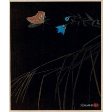 Urushibara Mokuchü: Butterfly and Blue Flower - ホノルル美術館