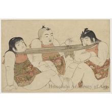 北尾重政: Boys Playing at Tug-o-War - ホノルル美術館
