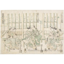 Nishimura Shigenaga: Sampukutsui Hiyoku no Sankyoku (Three Couples Making Music: A Triptych) - Honolulu Museum of Art