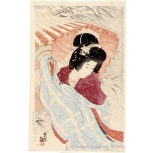Ito Shinsui: Woman with Umbrella in Snow Flurry - Honolulu Museum of Art