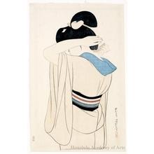 伊東深水: A Lady in Under Kimono - ホノルル美術館