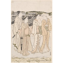 Katsukawa Shuncho: A Lady with Two Maid Servants and a Man Walking on the River Bank (descriptive title) - Honolulu Museum of Art
