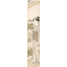 Katsukawa Shuncho: woman holding a fan and smoking a kiseru - Honolulu Museum of Art