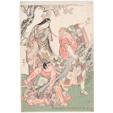 Katsukawa Shunko: Ichikawa Danjürö V as Ninna-ji Saibei, Segawa Kikunojö III as the Mountain Hug and Ichikawa Monnosuke II as kintoki in the play Otokoyama Furisode Genji - Honolulu Museum of Art