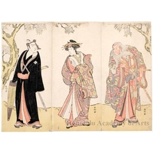 Katsukawa Shunko: Ichikawa Danjürö V as Ikyü, Nakamura Rikö I as Agemaki and Ichikawa Yaozö III as Sukeroku - Honolulu Museum of Art
