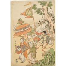 Katsukawa Shunrö: Chinese Boys Pulling a Flower Cart - ホノルル美術館