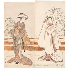 勝川春章: Segawa Kikunojö III as Konami and Nakamura Rikö I as Tonase - ホノルル美術館
