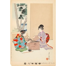 Miyagawa Shuntei: Cleaning the Tea Service (descriptive title) - Honolulu Museum of Art