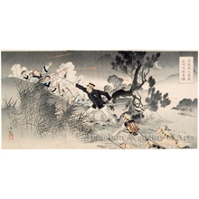 Mizuno Toshikata: Sino-Japanese War: Big battle at Anjö Watashi - Honolulu Museum of Art