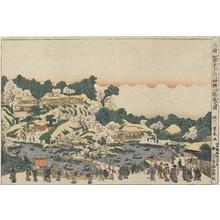 歌川豊春: Famous Places of Japan: The New Garden at Gotenyama in Shinagawa in the Evening - ホノルル美術館