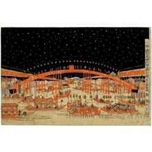 Utagawa Toyoharu: The Tenma Tenjin Festival at Night in Osaka - Honolulu Museum of Art