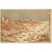 歌川豊春: Perspective Picture: Views of Japan: The Eight Views of Ömi - ホノルル美術館