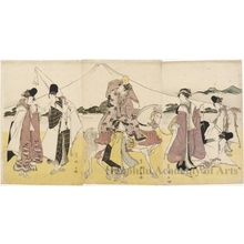 Utagawa Toyokuni I: Female Procession Passing Mt. Fuji (Descriptive Title) - Honolulu Museum of Art