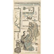 石川豊信: Arashi Tominosuke and Ichimura Kamezo - ホノルル美術館