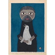 Azechi Umetaro: Man holding large bird, blue background - ホノルル美術館
