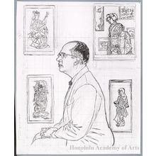 Hiratsuka Unichi: Portrait Print of James A. Michener (Under drawing) - Honolulu Museum of Art