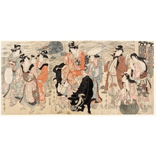 Kitagawa Utamaro: Figures and Ox (descriptive title) - Honolulu Museum of Art
