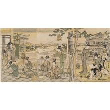 喜多川歌麿: Chinese Beauties at a banquet - ホノルル美術館