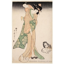 Kitagawa Utamaro: Mother and Child with Puppies - Honolulu Museum of Art