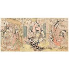 Kitagawa Utamaro: Picture of Hideyoshi and his Five Wives Viewing Cherry-blossom at Higashiyama - Honolulu Museum of Art