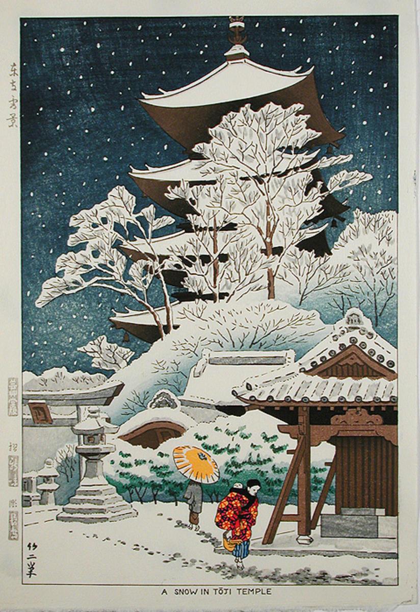 Fujishima Takeji A Snow In Toji Temple Japanese Art