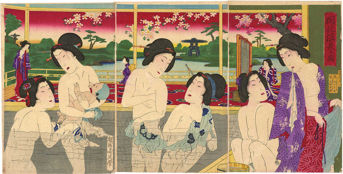 Toyohara Chikanobu: Women bathing at a hotsprings resort ...: https://ukiyo-e.org/image/jaodb/Chikanobu_Yoshu-No_Series-Women_bathing_at_a_hotsprings_resort-00039753-060921-F12
