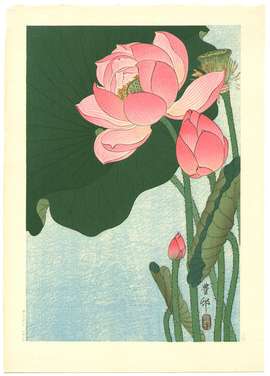 Shoson Ohara Flowering Lotus Japanese Art Open Database Ukiyo E