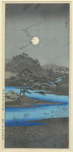 Akiyo: Autumn Moon at Tamagawa - Japanese Art Open Database